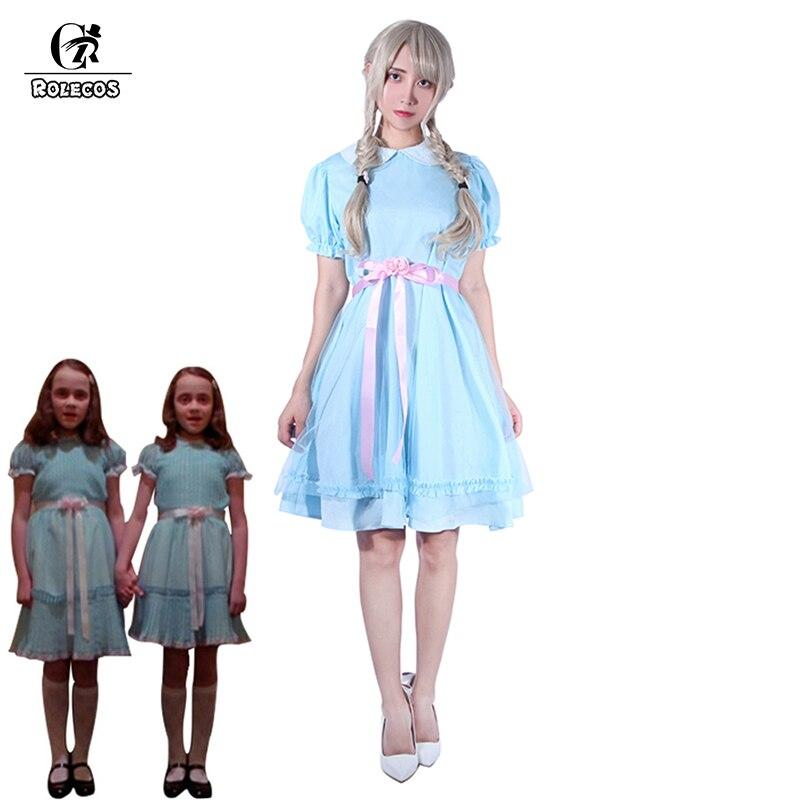 ROLECOS التوائم الساطع تأثيري حلي لوليتا فستان هالوين زي للنساء فتاة حلوة فستان أزرق الفستان الفيكتوري