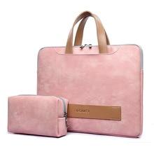 13.3 14 15.6 PU Leather Waterproof Laptop Case for Women, notebook Bag soft shockproof Handbag include power bag