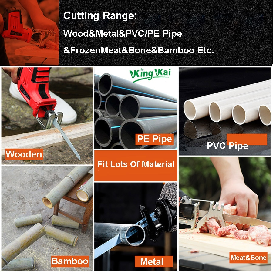 KK 12V 21V Lithium Battery Cordless Electric Reciprocating Saw Wooden Metal PVC PE Pipe Cutting Home Use Electric Saw enlarge