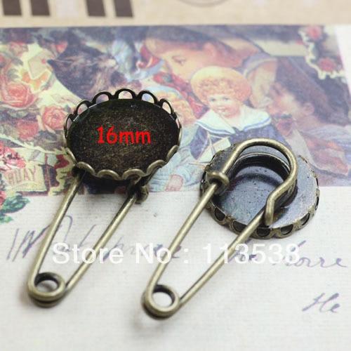 16mm 100 unids/lote antiguo bronce nuevo base falda escocesa de seguridad Pin broche broches de la joyería de diy findig envío gratuito