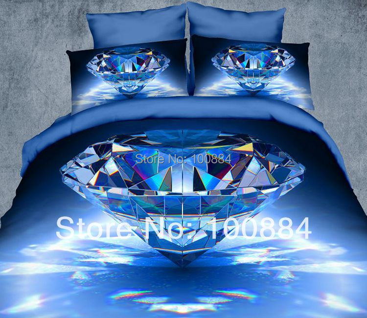 blue diamond printed bedding, full/queen size quilt duvet covers home textile linen coverlet,3d oil bedspreads