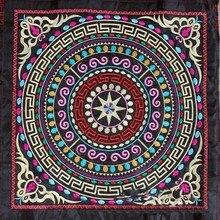 Miao-sac de vêtement en satin brodé   Tissu en satin, broderie, avec bordure en appliqué, fait à la maison, style ethnique népalais, inde bohème gitane, bricolage
