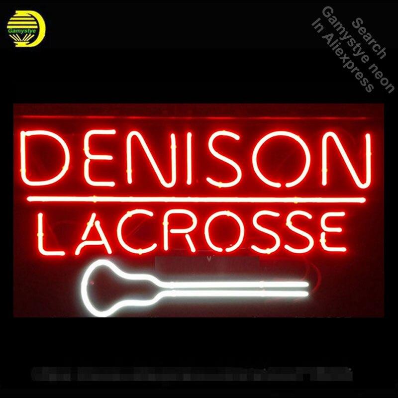 Denison Lacrosse-مصباح نيون زجاجي حقيقي ، علامة إضاءة منزلية ، أركيد ، صناعة يدوية ، شاشة عرض ، 19x15