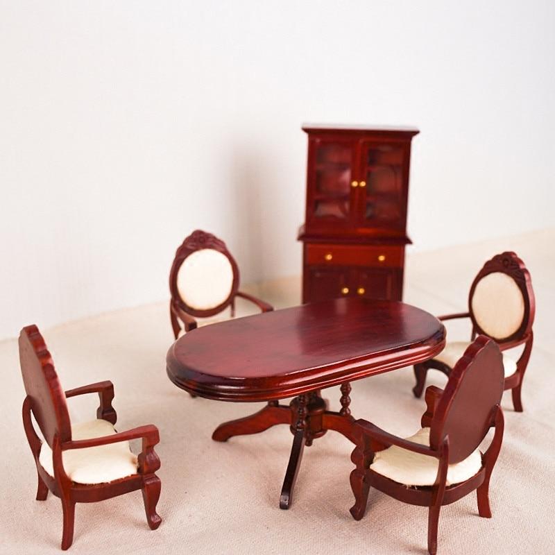 Doub K-طقم طاولة خشبي صغير للبنات ، لعبة محاكاة ، أثاث ، لعبة ، دمية ، أحمر ، 1:12