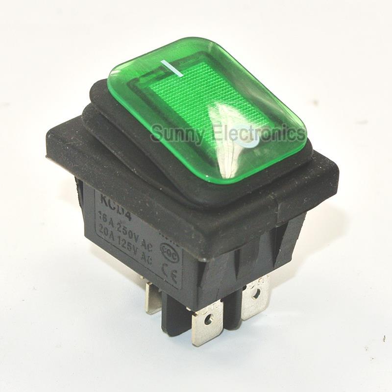 1x Green RLEIL RL2 (P) Waterproof IP65 ON/OFF Boat Car Rocker Switch