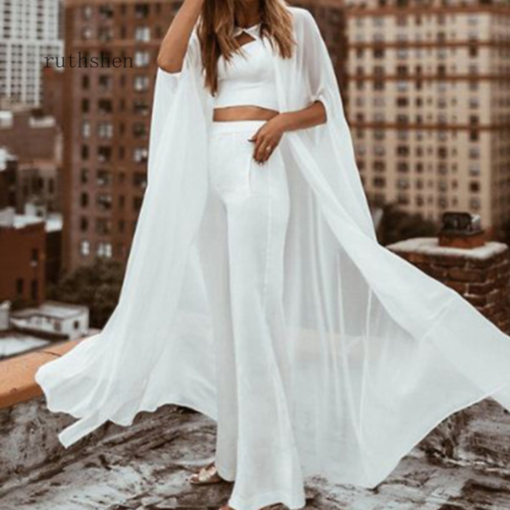 Chiffon Gauze Shawl wrapped in BOLERO Floor-Length Bridal Wedding jacket