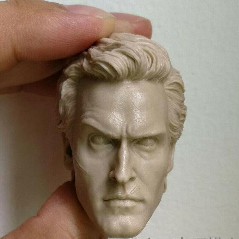 En blanco, escala 1/6, Evil Dead 2, Ash, William, henetta, cabeza esculpida sin pintar