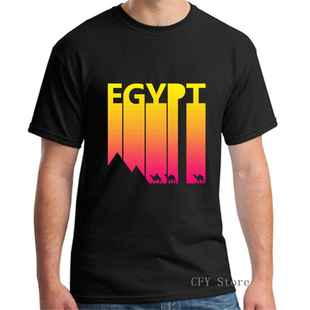 Мужские футболки с принтом в стиле ретро 1980-х, Египет, Camel, 100% хлопок, повседневные топы с короткими рукавами, черная футболка в стиле ретро, ...