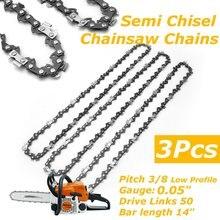Chaînes Semi ciselées pour tronçonneuse   3 pièces, scie électrique 3/8LP 0.05 pour Stihl MS170 MS171 MS180 MS181