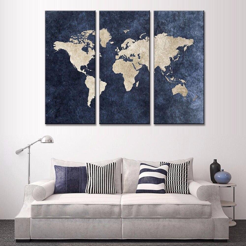 Impresión HD 3 paneles abstractos azul marino mapa del mundo pintura de lienzo pintura al óleo en lienzo decoración del hogar arte de la pared foto