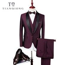 TIAN QIONG Männer Anzug Hochzeit Anzüge Für Männer Schal Kragen 3 stücke Slim Fit Burgund Anzug Herren Royal Blau Smoking (jacke + Weste + Hosen)