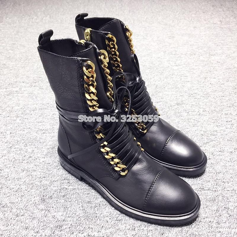 Новейшая модель, хит продаж, ботинки в стиле панк Золотой, серебряной цепочкой, мотоциклетные ботинки на плоской подошве, повседневные боти...