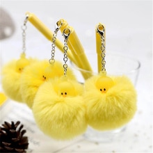Jaune canard balle en peluche pendentif Gel stylo mignon licorne encre noire stylo neutre cadeau promotionnel papeterie fournitures scolaires