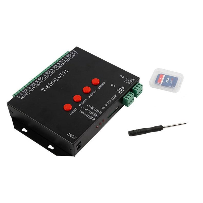 T8000A LED rgb Program kontroler dla ws2812b/WS2811/WS2813/TM1804/LPD6803/DMX512 taśmy + zasilacz RGB 8192 pikseli kontroler