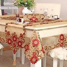 Nappe de Table en or à la mode   Nappe brodée et délicate, superposition de Table de mariage de Style Royal européen, de marque