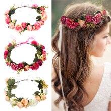M MISM, corona de flores para novia para mujer, diadema Floral para boda, cinta de guirnalda, lazo para niña, corona de flores, accesorios para el cabello elásticos