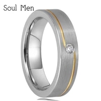 classic women wedding band matte gold color groove with cz stone top tungsten engagement ring 5mm for girl size 5 6 7 8