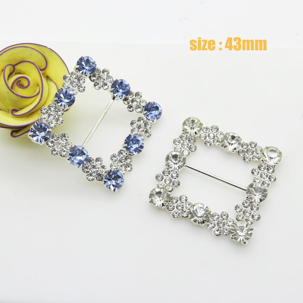 43mm fashion Square shiny Rhinestones Buckles / Wedding Invitations Cards Ribbon Slider, Diy Hair Accessories.