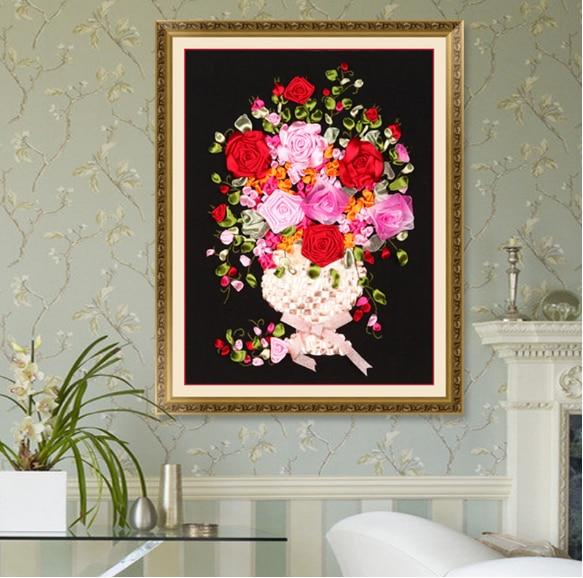 40x55cm Black Vase Ribbon embroidery kit stain painting set handcraft kit DIY handmade needlework art home decor