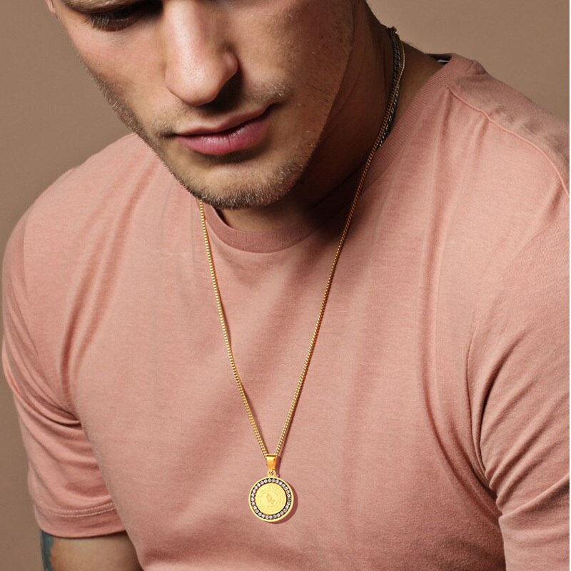 Männer der Bibel Vers Gebet CZ Halskette Christian Schmuck Gold Silber Edelstahl Beten Hände Münze Medaille Anhänger Halsketten