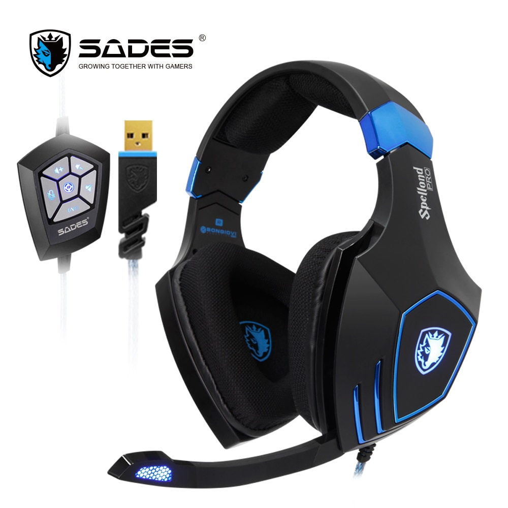 SADES Spellond Pro Bongiovi Acoustics Gaming Headset Deep Bass Vibration Headphone Omnidirectional Microphone