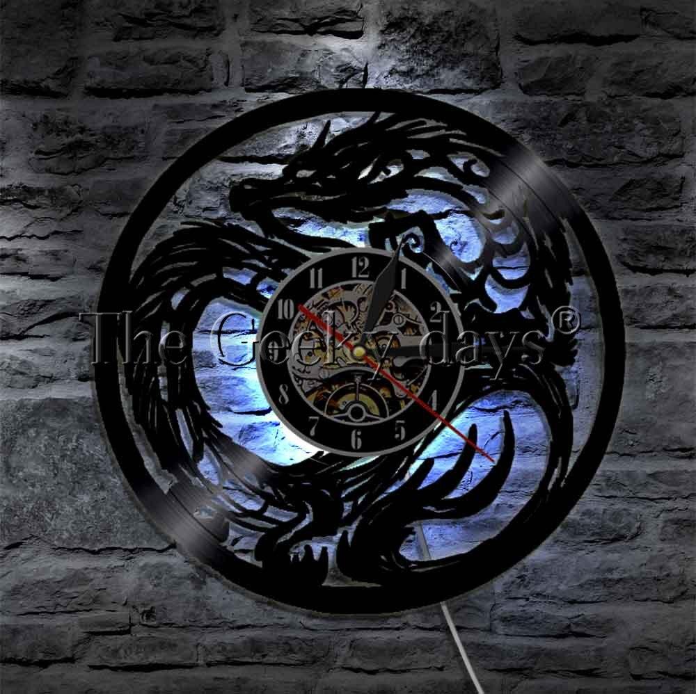 مصباح حائط LED Dragon ، مصباح حائط من الفينيل مع Lumionus ، ساعة ، فن الدفاع عن النفس