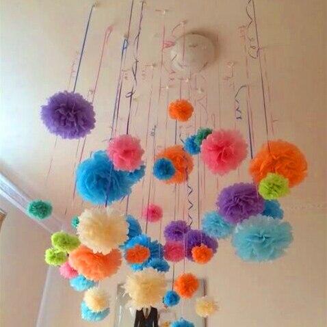 20cm 5 unids/lote de flores artificiales de papel pompones artificiales bolas de papel flores para el hogar boda fiesta coche decoración manualidades flores