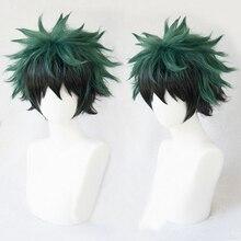 Mein Hero Wissenschaft Boku keine Hiro Akademia Izuku Midoriya Kurze Grün Schwarz Ombre Hitze Beständig Cosplay Kostüm Perücke + Track + kappe