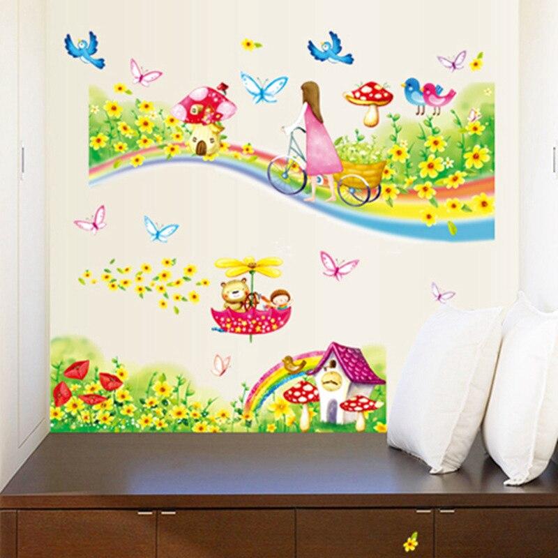 Etiqueta engomada Zs 60*80 cm pegatinas de pared arcoíris Road para niños habitaciones decoración de pared de guardería decoración de dormitorio de niñas decorativas