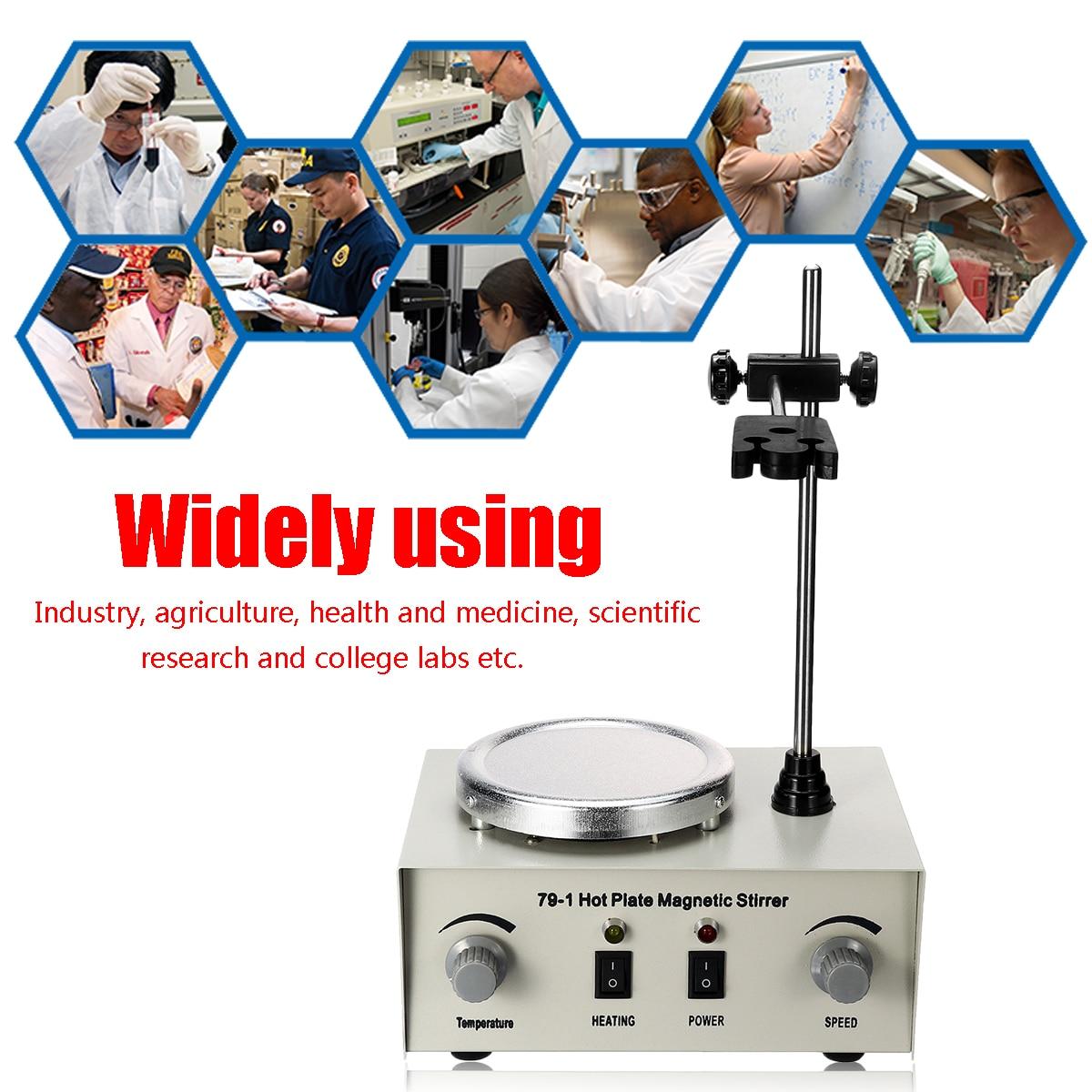 Us/au/ue 79-1 110/220 v 250 w 1000ml placa quente agitador magnético laboratório aquecimento duplo controle misturador nenhum ruído/vibração fusíveis proteção