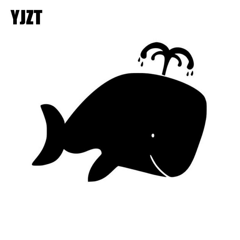 YJZT 12.8cm*10.2cm Cartoon Cute WHALE Car Sticker Vinyl High-quality Decal Black Silver Accessories