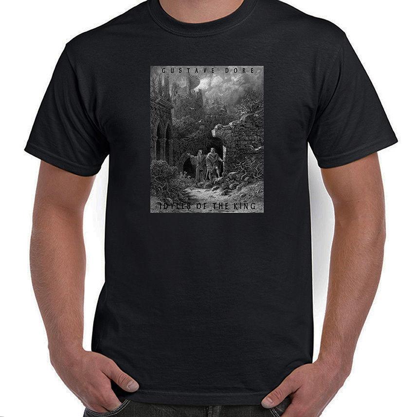 """""""Los Idilios del rey Merlín y el rey Arturo gustave Dore más de 2019 de los hombres de moda Hipster camisetas verano Slim divertido Camisa de algodón"""