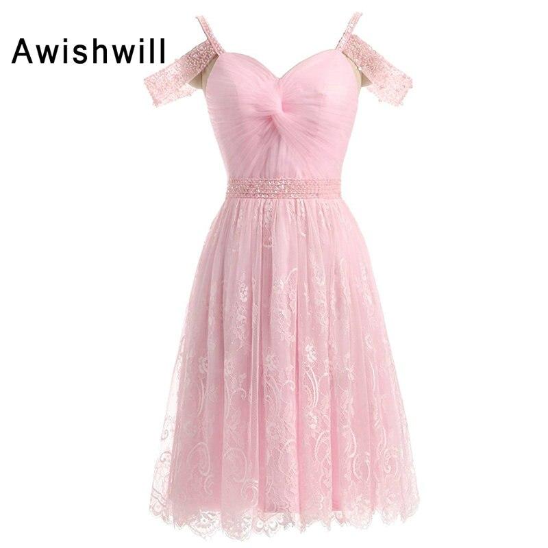 Nova moda rosa cocktail vestido 2020 feminino cinta de espaguete frisado rendas curto cocktail vestidos festa coquetel