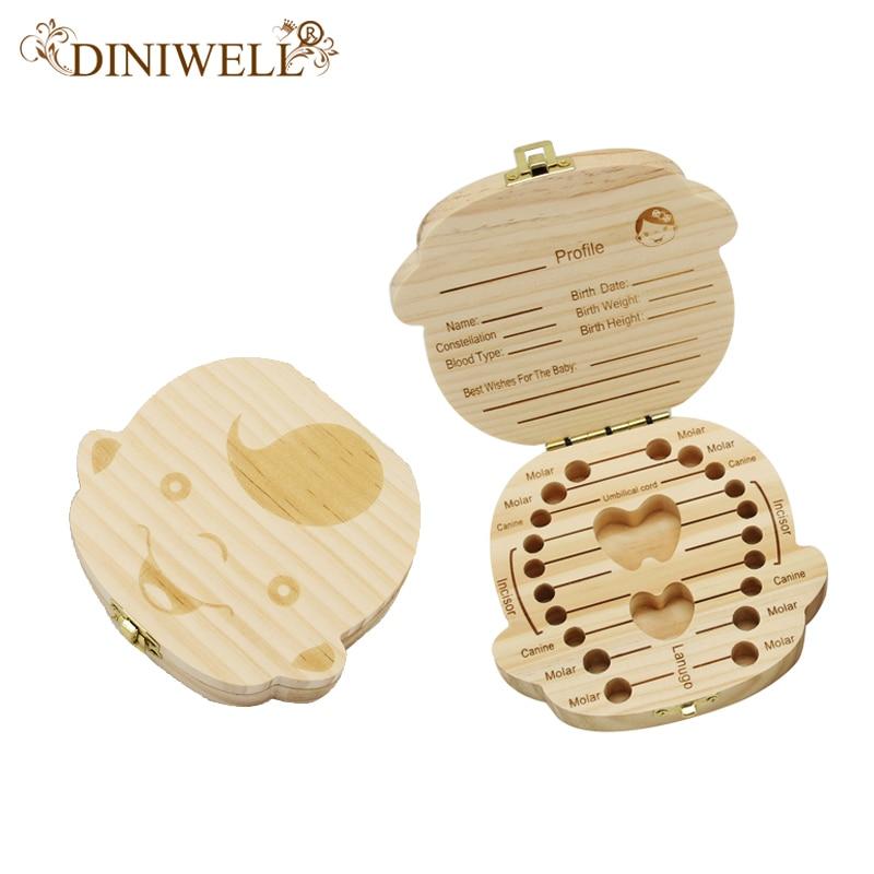 Diniwell inglês/espanhol de madeira caixa de dente de bebê organizador leite dentes armazenamento umbilical lanugo salvar recolher lembranças do bebê presentes