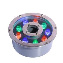 Wholesale RGB led fountain lamp 6W 9W 18W 24W led circle fountain lamp 6w ring led fountain light AC DC 12V 24V IP68 Ourdoor