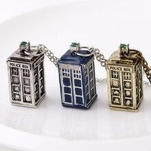 닥터 누가 목걸이 tardis 경찰 상자 영국 전화 부스 런던 영국 빈티지 블루 펜던트 영화 쥬얼리 여성 도매
