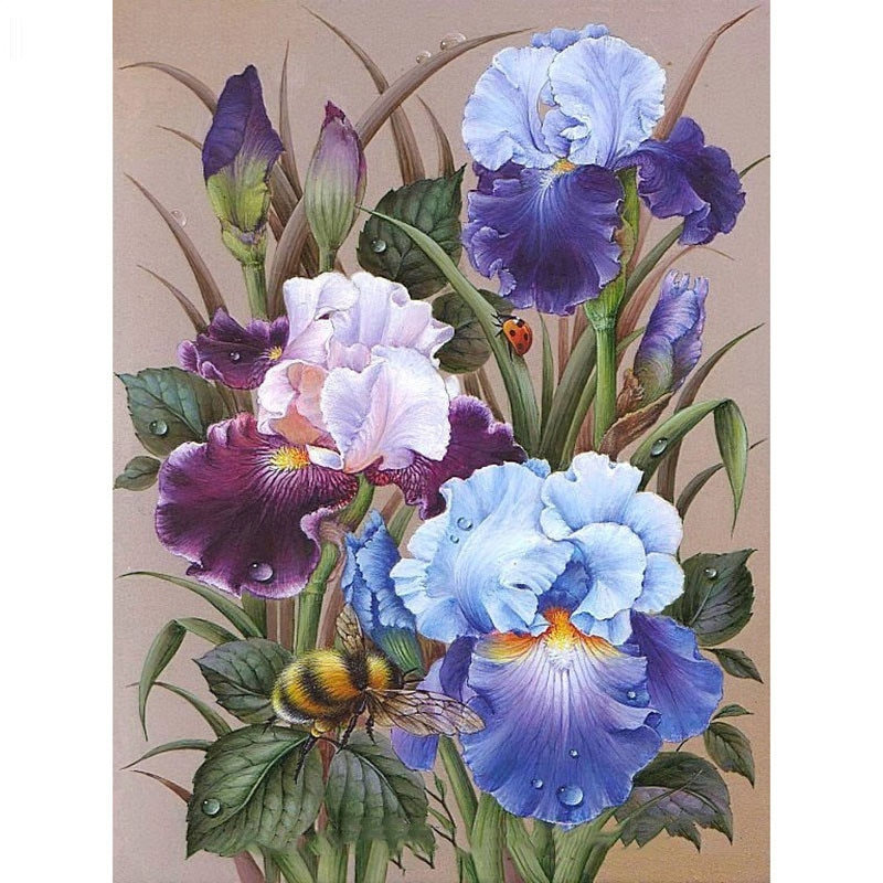 Diamond Embroidery Flowers Bees Diamond Painting Cross Stitch Crafts Diamond Mosaic Kit Full Square/Round Rhinestone Home Decor