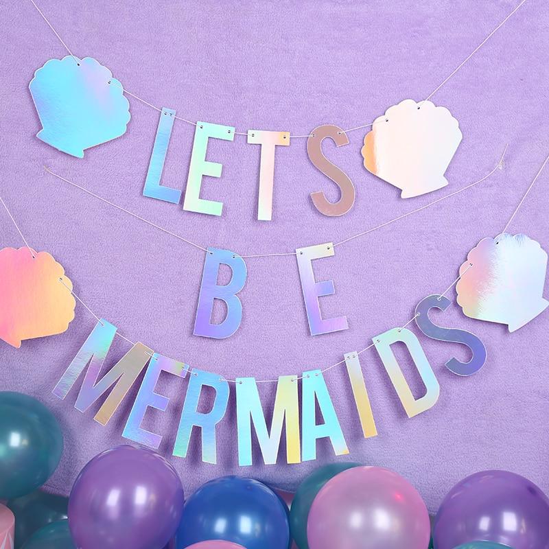 Sereia tema festa decoração vamos ser sereia banners laser sereia bunting aniversário fontes da festa de casamento