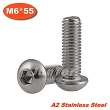 50pcs/lot ISO7380 M6*55 Stainless Steel A2 Hexagon Socket Button Head Screws
