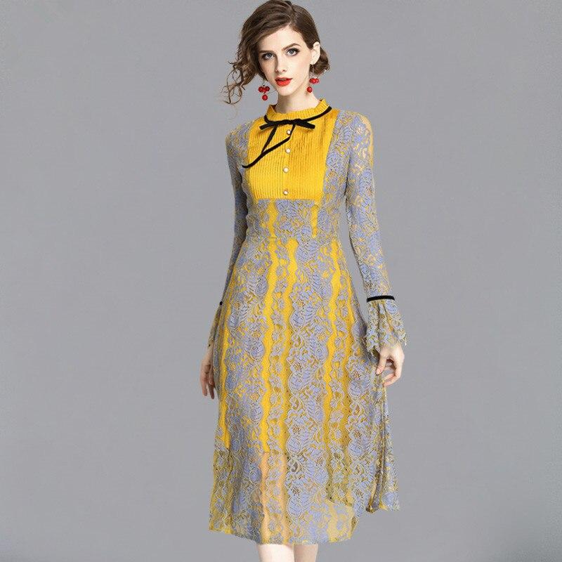 Женское кружевное платье MSSNNG с бантом и расклешенными рукавами вырезами длинным