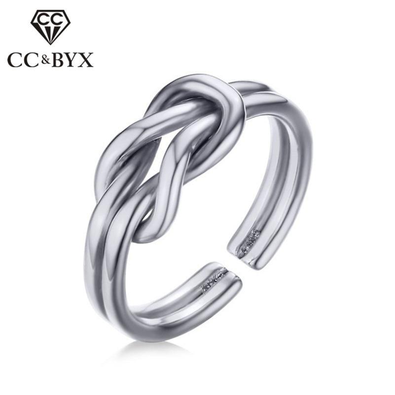 Anillos de boda CC para mujeres y hombres, acero inoxidable, arco Original, anillo de 3,5mm, joyería única para señoras CC1302