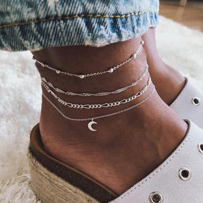 Vintage Moon Silver Color Anklets Set for Women Multilayer Barefoot Sandals Ankle Bracelet on Leg Chain Boho Anklet Foot Jewelry