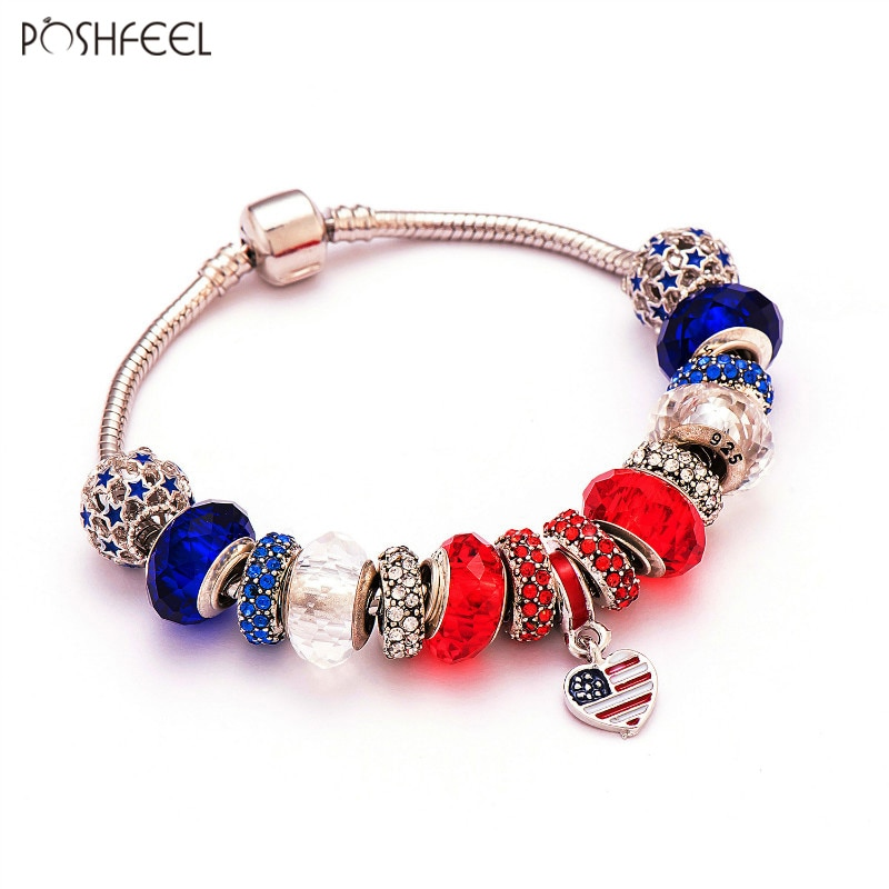 Poshfeel Heart Shaped American Usa Flag Charm Bracelet Women Diy Beads Jewelry Bracelet Patriotic Style Pulsera Mbr170093