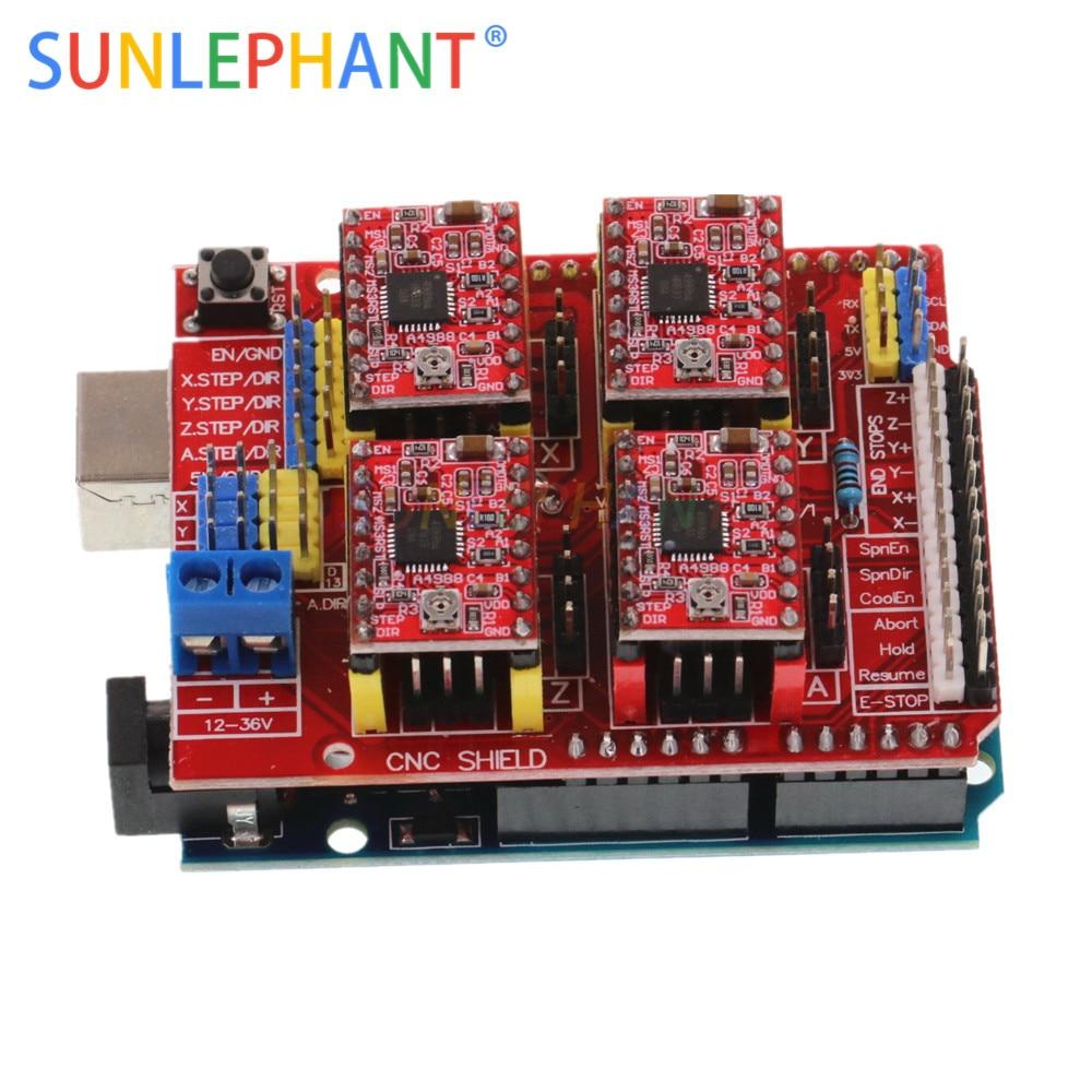 Protetor cnc v3 máquina de gravura impressora 3d + 4 pces a4988 driver placa expansão para arduno r3 com cabo usb