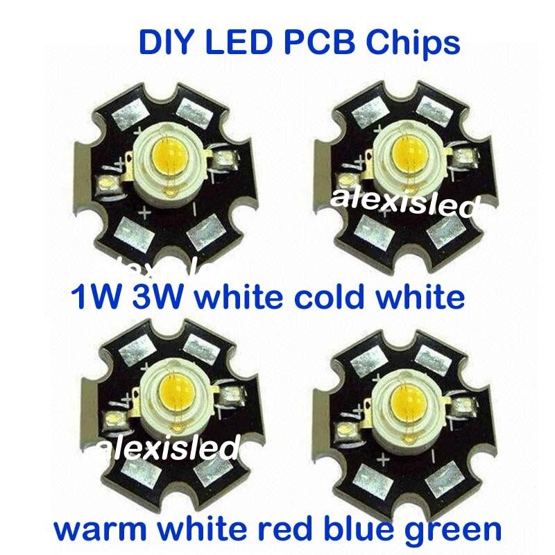 1 W 3 W Chip De Alta Potência LEVOU emissor de luz PCB Branco Fresco Branco Morno Vermelho Verde Azul com 20 MM Estrela PCB Freeshipping! 10 PCS