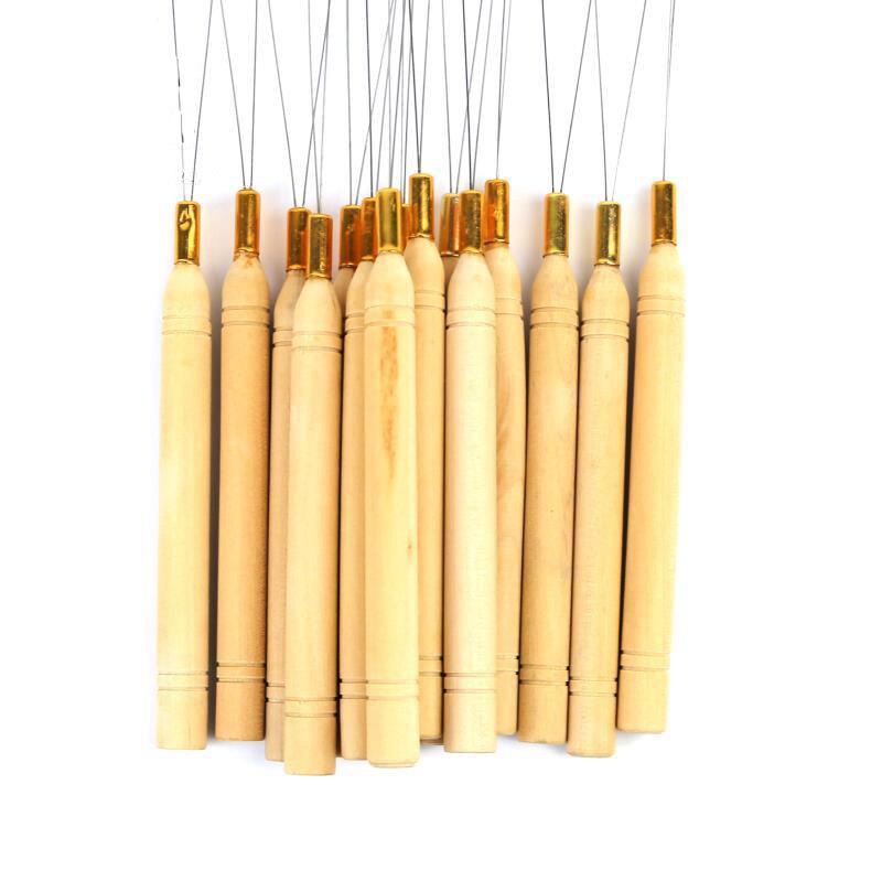10/20/50pcs Wooden Handle Hair Extensions Loop Needle Threader Pulling Tool Hair Crochet Weaving Latch Hook Dreadlock Crochet enlarge