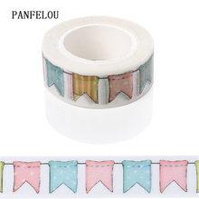 PANFELOU 1.5CMx10M Colorful flags Dividing  Stickers border masking adhesive  paper washi tape DIY Scrapbooking Hand account