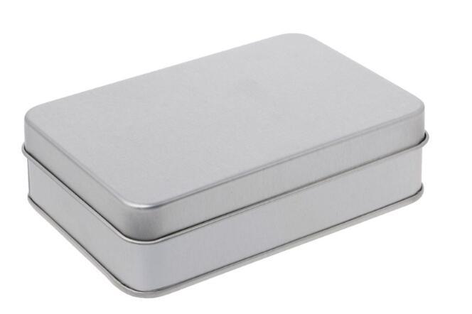 20 unids/lote de cajas rectangulares de Metal de plata para empaquetar galletas de especias, lata de lata Universal para fiestas de bodas