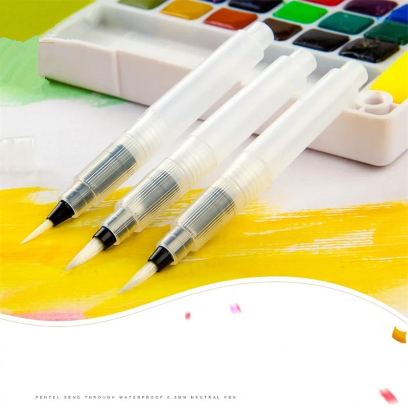 TOUCHNEW 3 unids/set pincel suave conjunto redondo de color agua tamaño medio arte largo pincel de agua pluma punta plana obra de arte con acuarela marcador