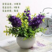1 x Mini Potted Artificial púrpura lavanda planta verde Hnew casa boda decoración Festival Artificial flor